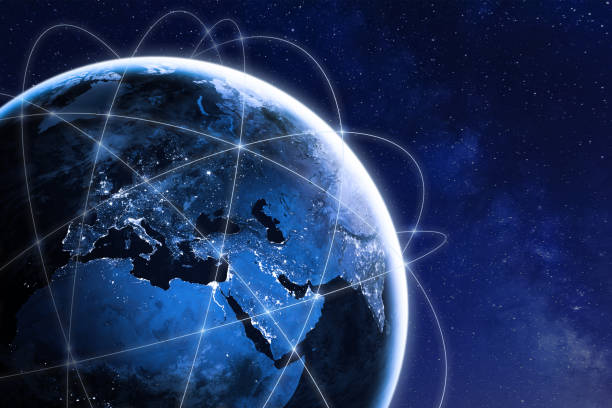 global connectivity concept with worldwide communication network connection lines around planet earth viewed from space, satellite orbit, city lights in europe, some elements from nasa - globale foto e immagini stock