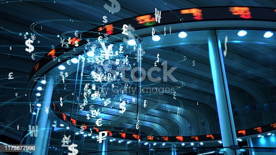 1019729218 istock photo Global currency and technology concept. Fintech (Financial technology). 1172877996