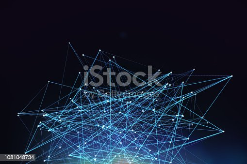 Chaos, mesh network, Blockchain, Distributed ledger technology with lens flares on black background.