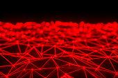Network mesh, chaos, blockchain. Defocused lights.