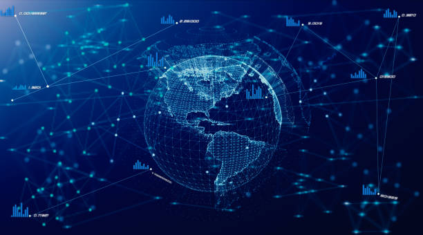 Global digital network growing with numbers flying. Business concept