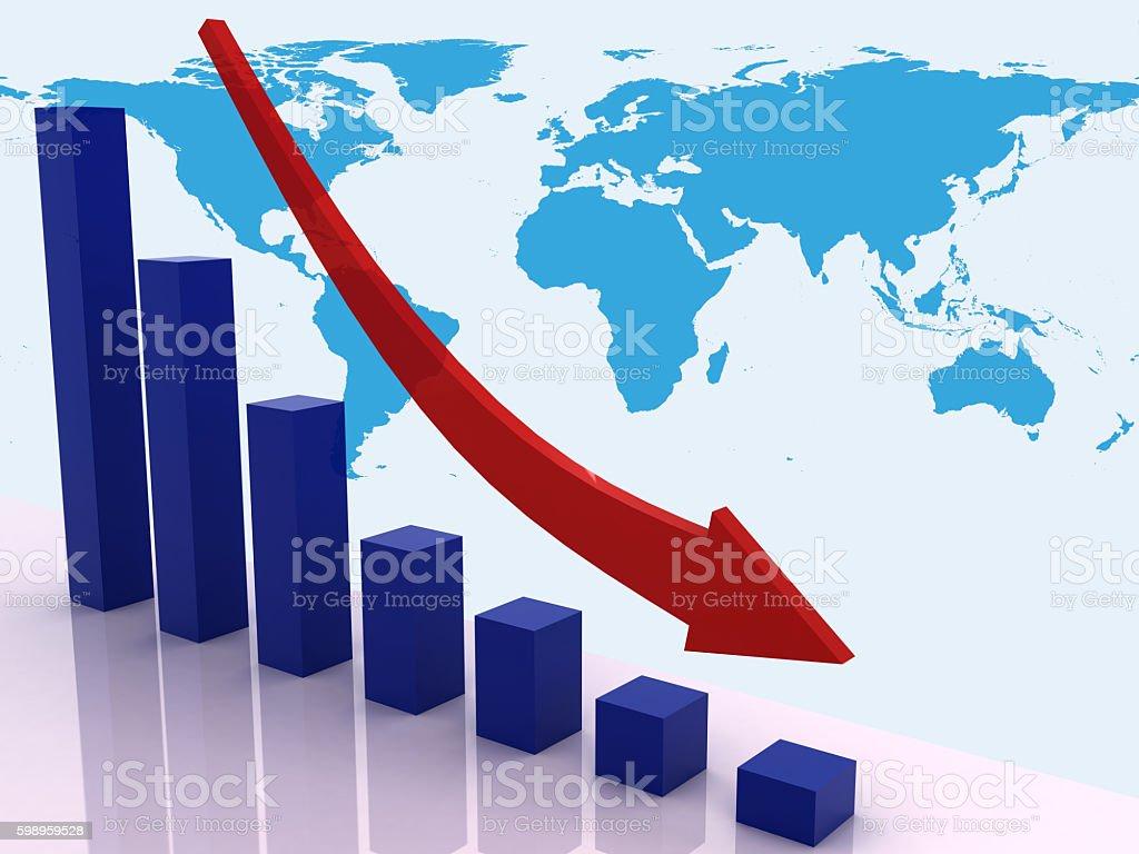 global economics crisis chart graph stock market concept stock photo