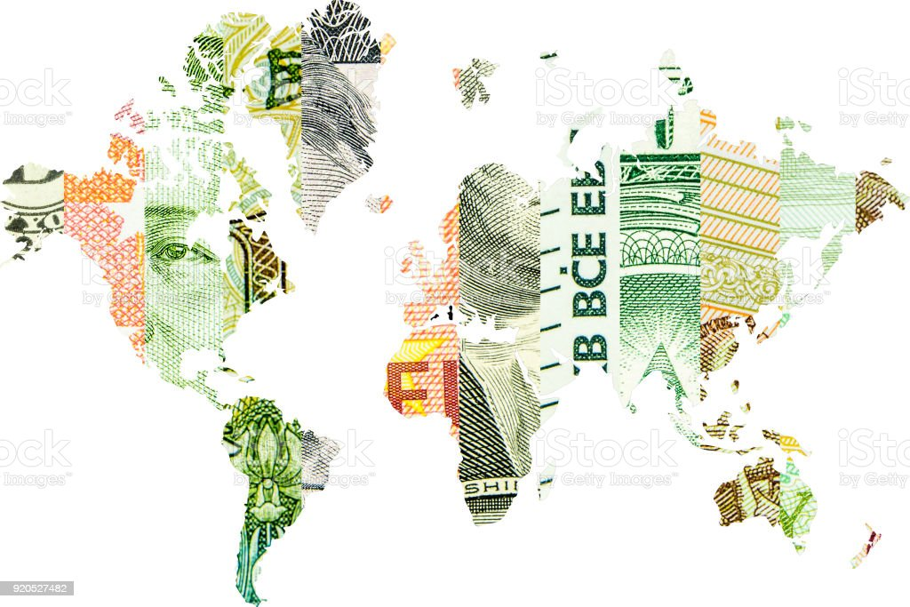 global economics with four main currencies stock photo