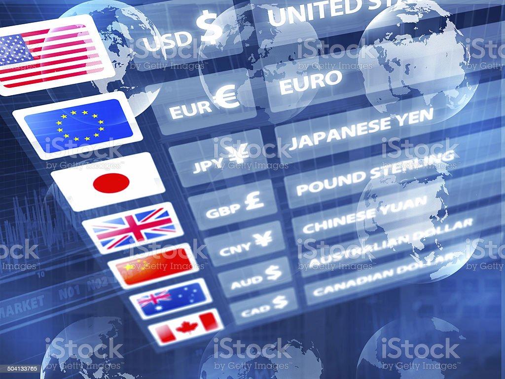 Global economy: currency exchange rates panel with data, maps, charts stock photo
