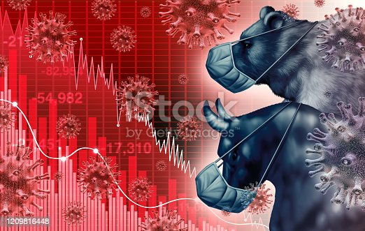 Global economy pandemic fear and economic coronavirus fear or virus outbreak and Stock market fears as a bull and bear crisis and sick financial health as a business recession with 3D illustration elements.