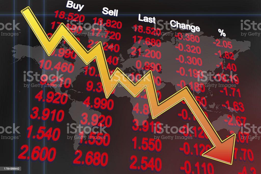 Global economy recession stock photo