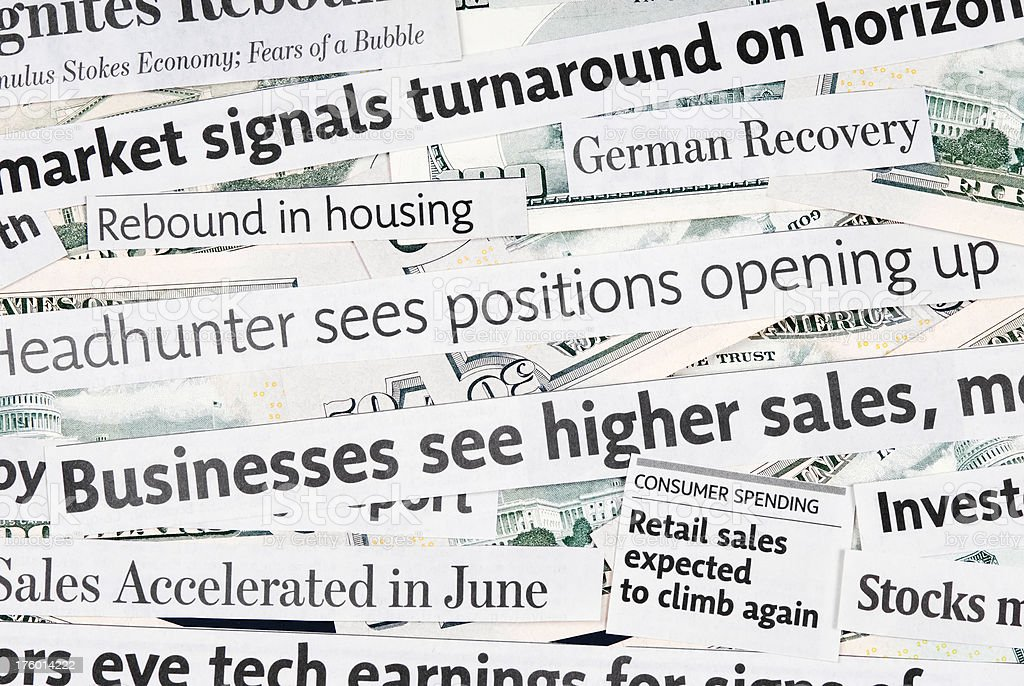 Global economy recovery news - III stock photo