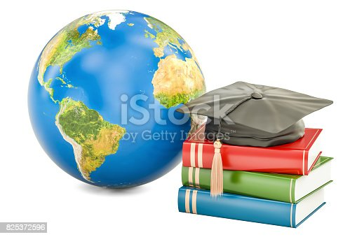 istock Global education concept, Earth with books and graduate cap 825372596
