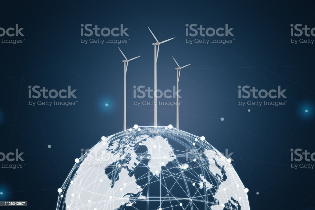 Global energy concept with 3d rendering wind turbines on globe