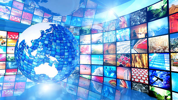 Global enterntainment: Earth surrounded by television videos, Asia Pacific region stock photo