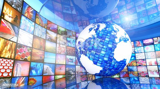 451823313 istock photo Global enterntainment: Earth surrounded by television videos 508552254