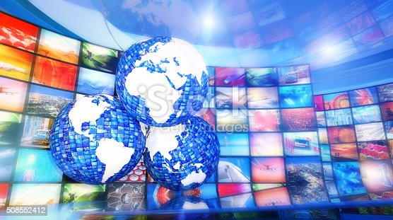 451823313 istock photo Global enterntainment: three world maps surrounded by television videos 508552412