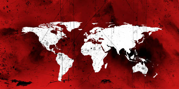 Global epidemic concept of dirty damaged world map stock photo