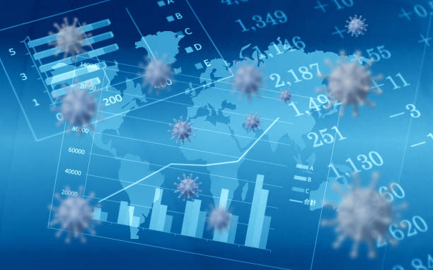 Global epidemics and economic impact stock photo