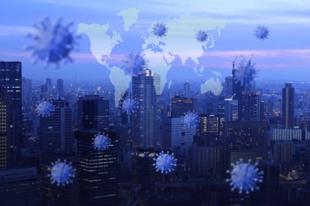 global epidemics and economic impact - patogeno foto e immagini stock