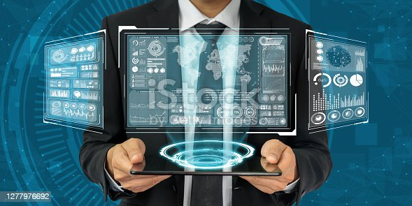 Global finance analysis and big data research concept . Futuristic screen showing large statistic information for business and marketing decision making .