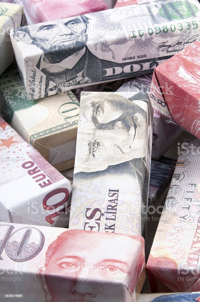 Global Finance and Banking world bank notes royalty-free stock photo