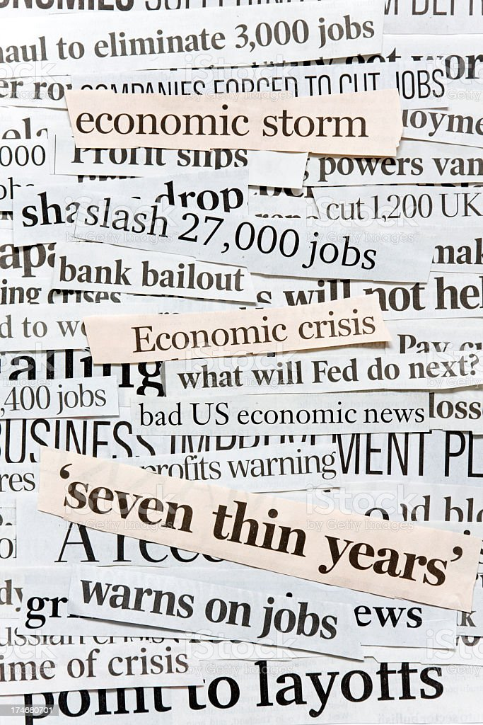 Global Financial Crises. Collage Of Newspaper Headlines. royalty-free stock photo