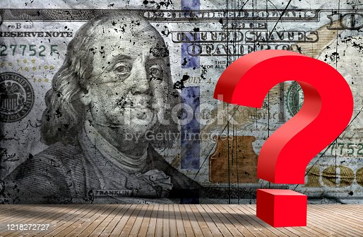 Conceptual finance and economy image of American one hundred dollar bill and red question mark