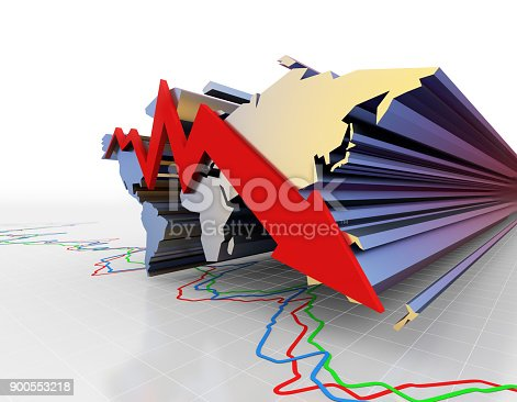 istock Global Financial Economy, Business Activities, Economic Decline, Arrows and World Map 900553218