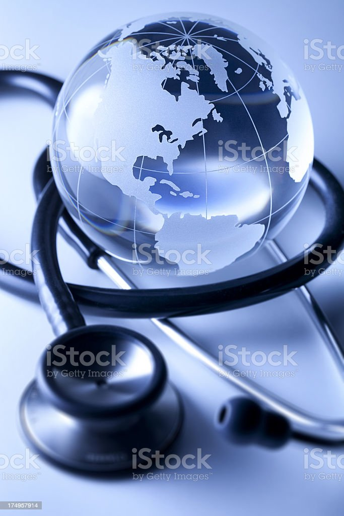 Global healthcare. Globe and stethoscope. royalty-free stock photo
