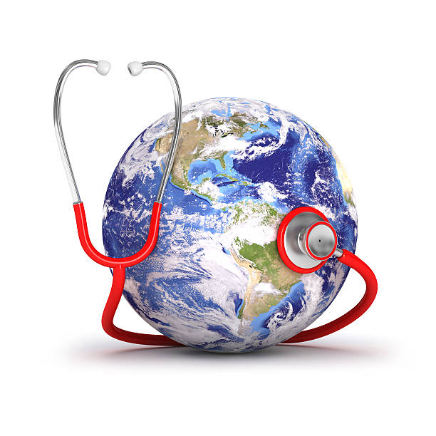 Global healthcare Earth map comes from public domain www.nasa.gov world health day stock pictures, royalty-free photos & images