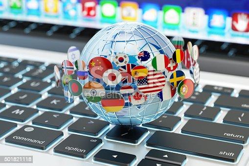istock Global internet communication, online messaging and translation concept 501821118