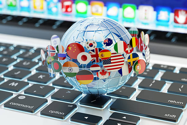 global internet communication, online messaging and translation concept - translator stock photos and pictures