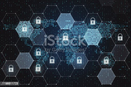 istock Global internet security concept with digital screen with lock icons in cells and pixel world map. 1198811723