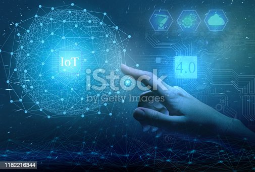 istock Global introduction of industry 4.0 in production to increase productivity and implement business projects of the future. Internet of things as a way to manage production 1182216344