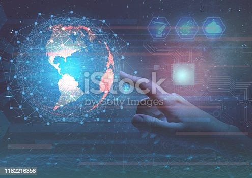 istock Global introduction of industry 4.0 in production to increase productivity and implement business projects of the future. Internet of things as a way to manage production 1182216356