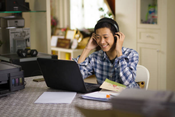 Global learning and online class stock photo
