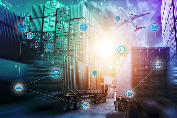 Global logistics network concept and wireless communication network – Foto