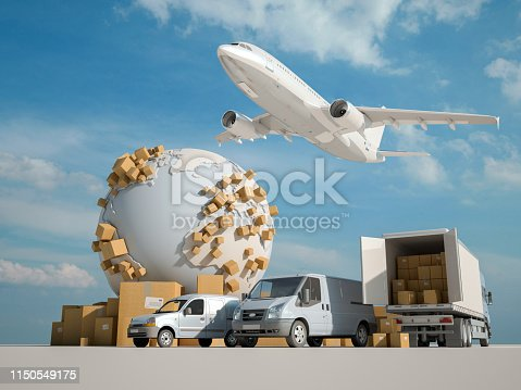 3D rendering of a global transportation business concept
