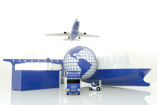 Cargo ship,truck,forklift with cargo container and flying airplane.