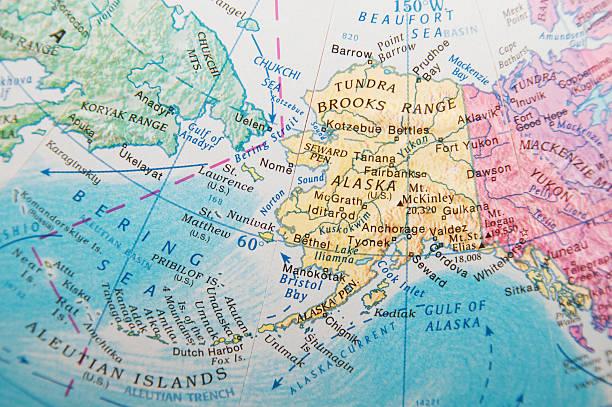 global map of alaska - alaska us state stock photos and pictures
