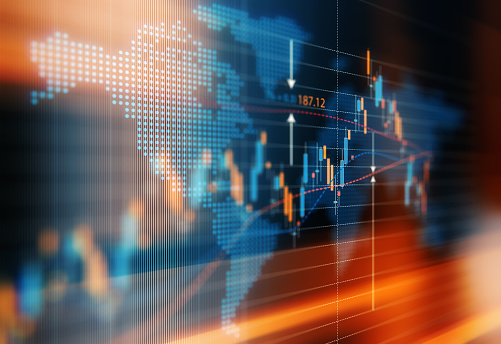 Financial data analysis graph showing global market trends. Selective focus. Horizontal composition with copy space.