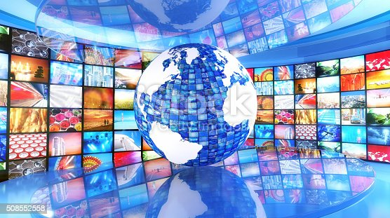 451823313 istock photo Global media and enterntainment: Earth surrounded by television images 508552558