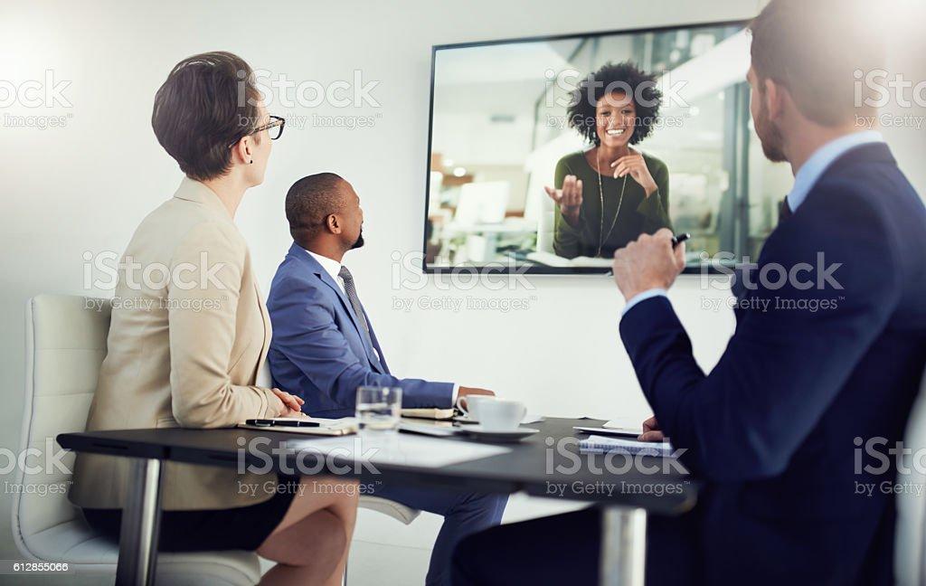 Global meetings held in real time stock photo