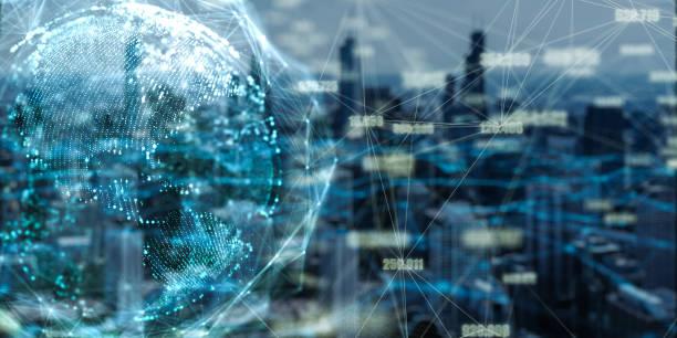 Red global y conexión de datos doble exposición con la ciudad de Chicago en 3d espacio Futurista digital abstracto fondo para negocios y tecnología - foto de stock