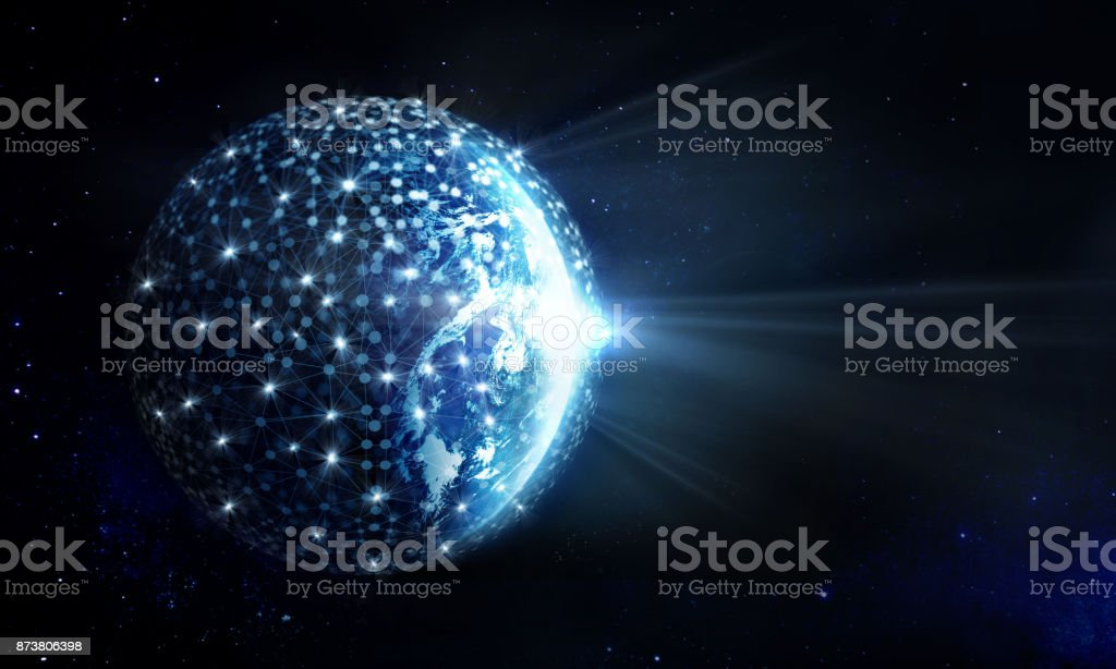 Global Network and data exchange on planet earth in deep space, Elements of this image furnished by NASA stock photo