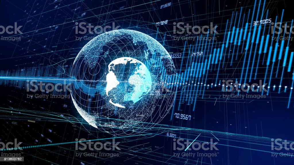 Global network and financial technology concept. stock photo