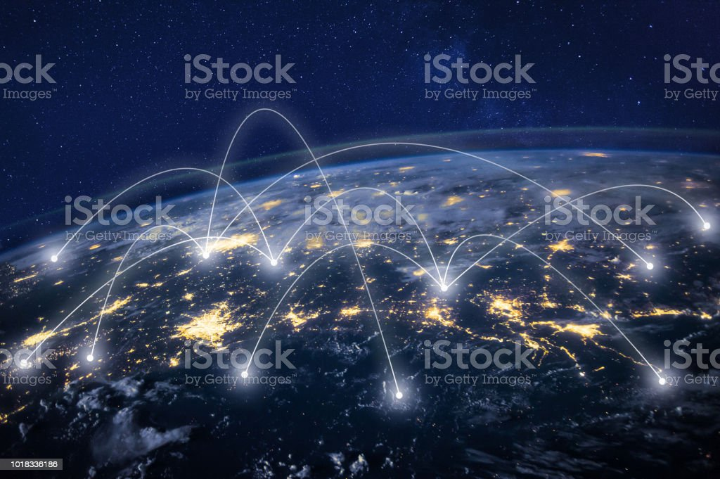 global network around Earth, information technology concept - Foto stock royalty-free di Affari