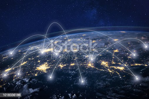 Telecommunication, planet Earth from space, business communication worldwide, original image furnished by NASA - https://images-assets.nasa.gov/image/iss040e090540/iss040e090540%7eorig.jpg