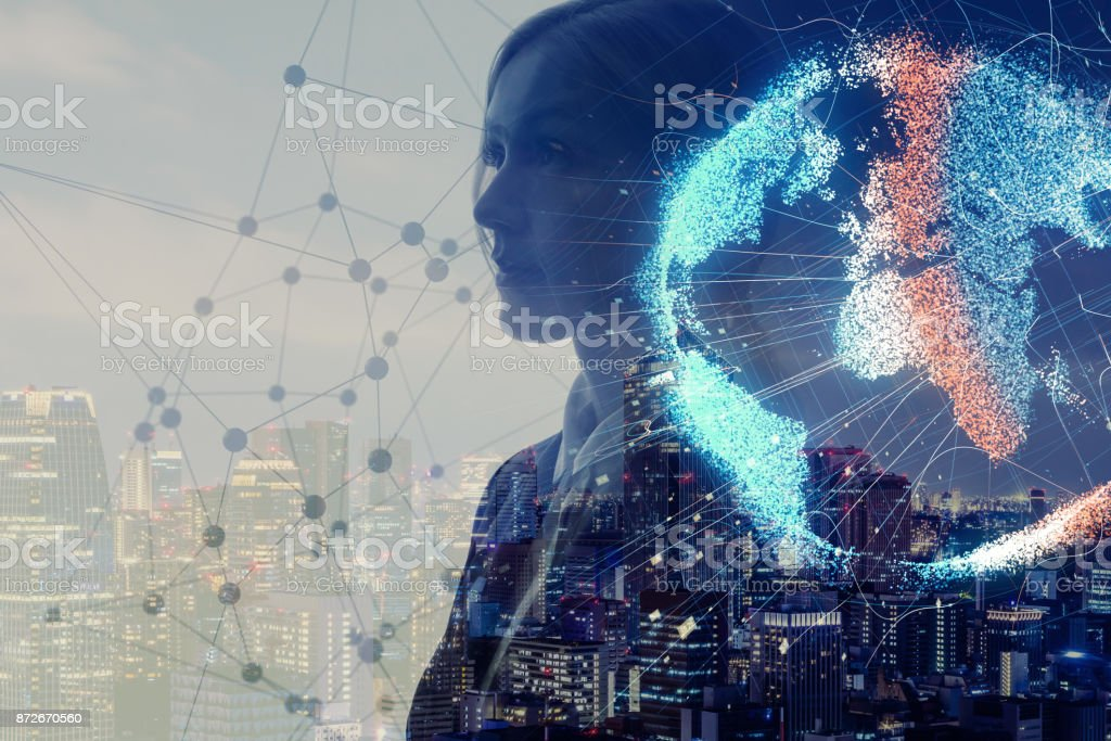 Global network concept. Internet of Things. Artificial Intelligence. stock photo