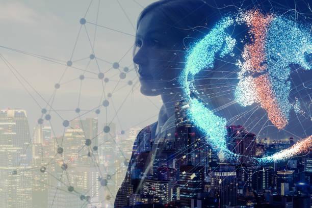 Conceito de rede global. Internet das coisas. Inteligência artificial. - foto de acervo