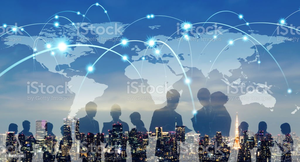 Global network concept. Map of Japan and group of people. - Royalty-free 5G Stock Photo