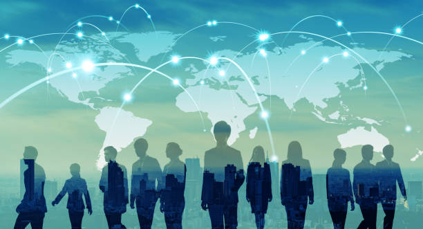 Global network concept. Map of Japan and group of people. stock photo