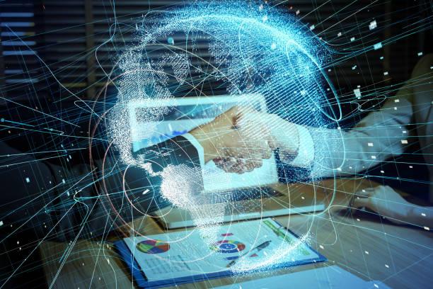 globalen netzwerk-konzept. - fusionen und übernahmen stock-fotos und bilder