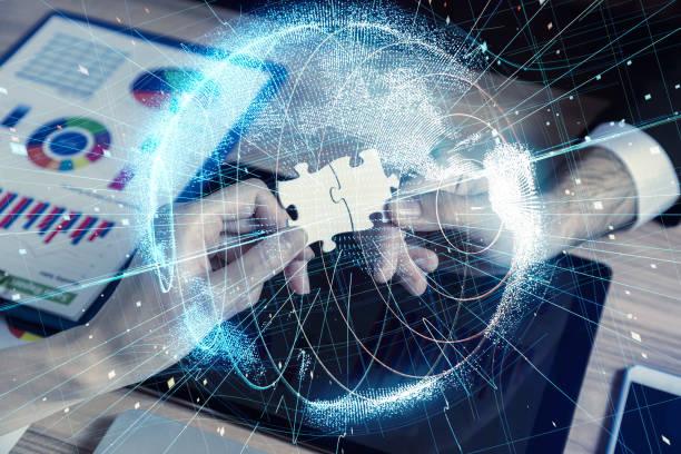 global network concept. - business woman hologram imagens e fotografias de stock